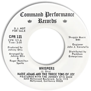 Marie Adams and the Three Tons of Joy, Command Performance 121