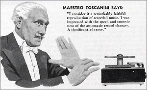 Toscanini Quote for RCA's New 45 Record